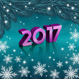 New 2017 year numbers with snowflakes. Vector illustration of new 2017 year numbers with snowflakes Stock Photo