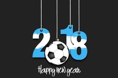 New Year numbers 2018 and soccer ball. As a Christmas decorations painted in the colors of the Argentina flag hanging on strings. Vector illustration Stock Photos