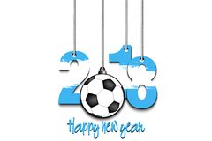 New Year numbers 2018 and soccer ball. As a Christmas decorations painted in the colors of the Argentina flag hanging on strings. Vector illustration Royalty Free Stock Image