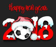 New Year numbers 2018 and soccer ball. Snowy New Year numbers 2018 and soccer ball in a Christmas hat with football boots. Vector illustration Stock Photos