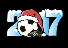New Year numbers 2017 and soccer ball. Snowy New Year numbers 2017 and soccer ball in a Christmas hat with football boots. Vector illustration Stock Photo
