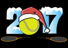 New Year numbers 2017 and tennis ball. Snowy New Year numbers 2017 and tennis ball in a Christmas hat with tennis rackets. Vector illustration Stock Photography