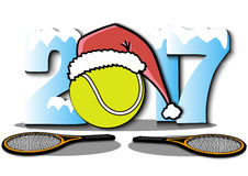 New Year numbers 2017 and tennis ball. Snowy New Year numbers 2017 and tennis ball in a Christmas hat with tennis rackets. Vector illustration Royalty Free Stock Images