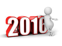 New Year 2016 Numbers And White 3d Man. 3d Render Illustration vector illustration