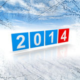 2014 new year numbers on winter background. Blue and red shining squares with new 2014 year numbers on winter background Stock Photos