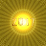 New Year numbers 2017 with yellow shiny background Stock Image