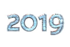 2019 New Year. numeral ice on white isolated background. 3D rend. New Year 2019. Numeral blue ice on white isolated background for calendar design. 3D rendering stock illustration
