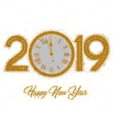 New Year numerals 2019 with clock. Gold clock with roman numerals on a circular gold ring clock with New Year numerals 2019 on a white background vector illustration