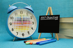 2017 New Year objectives. 2017 New Year objectives written on a small blackboard Royalty Free Stock Photography