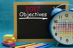 2017 New Year objectives. Written on a small blackboard Royalty Free Stock Photography
