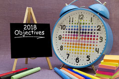 2018 New Year objectives. Written on a small blackboard Stock Photography