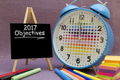 2017 New Year objectives. Written on a small blackboard Royalty Free Stock Image