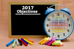 2017 New Year objectives. Written on a small blackboard Royalty Free Stock Images
