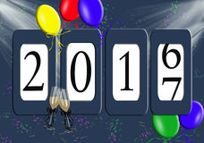 New year 2017 odometer with balloons Stock Images