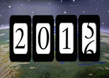 New Year 2016 Odometer. New Year odometer for 2016 with outer space background royalty free illustration