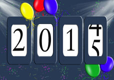 New year 2015 odometer. Party balloons and confetti on new Year 2015 odometer vector illustration