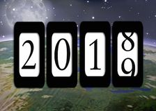 New Year 2019 odometer on planet earth. New year 2019 odometer with planet earth and moon background vector illustration