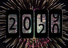 2020 New year odometer in fireworks. New Year 2020 odometer sign illustration on fireworks in sky background royalty free illustration