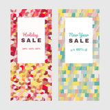 New Year offer. Holiday set Shopping sale design. New Year offer. Colorful banner set. Shopping sale design. Abstract texture. Copy space. Discount flyer design stock illustration