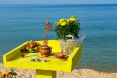 New Year offerings to the gods on the altar of a small sea temple Stock Photo