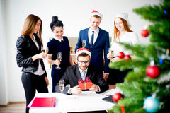 New year office party. Businessmen celebrating new year at office party Stock Photography