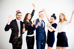 New year office party. Businessmen celebrating new year at office party Stock Photos