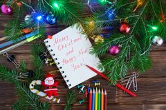 New year for office workers. Notepad with congratulations. royalty free stock images