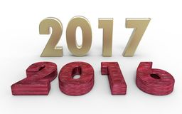 New year 2017. With old year 2016 stock illustration