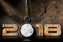 2018 New Year - Old Broken Pocket Watch. 2018 New Year - Wooden numbers with an old and broken pocket watch with chain on a wooden background vector illustration