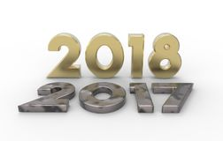 New year 2018 with old 2017 3d illustration. New year 2018with old 2017 3d illustration with isolation white background Royalty Free Stock Image