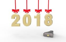 New year 2018 with old 2017 3d illustration. New year 2018with old 2017 3d illustration with isolation white background Royalty Free Stock Images