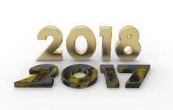 New year 2018 with old 2017 3d illustration. With isolation white background Royalty Free Stock Image