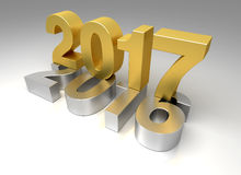 New Year 2017 and old 2016. 3D Rendering Royalty Free Stock Photography