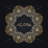 New Year 2016. old inscription, tex. Gold frame. Mandala. Celebrate. New Year 2016 colorful greeting card. Poster, banner or invitation. Celebrate. Stylized Royalty Free Stock Photo