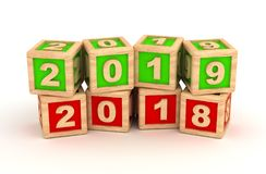 New Year 2019 and old 2018. Computer Generated Image Royalty Free Stock Photo