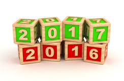 New Year 2017 and old 2016. &  on white background Stock Images