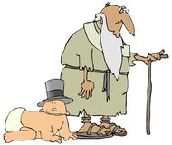 New Year, Old Year. This illustration depicts an old man representing the outgoing year and a baby depicting the incoming one Stock Photo