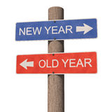 New Year and Old Year sign. Wooden road signpost points to the New Year 2017 and the Old Year 2016. 3d illustration Stock Photography