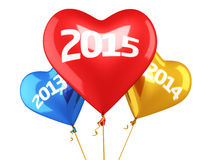 New Year 2015. And old years balloon concept (isolated on white and clipping path Royalty Free Illustration