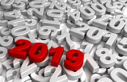 New Year 2019 and Olds. Computer generated image Stock Photos