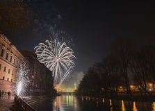 New Year 2015 in ORADEA. Fireworks in ORADEA on the  New Year Party Royalty Free Stock Images