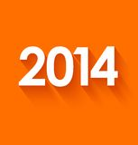 New year 2014 on orange background. New year 2014 in flat style on orange background. Vector illustration Stock Photo