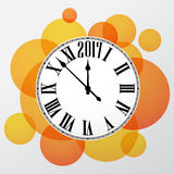 2017 New Year orange clock background. 2017 New Year orange background with clock. Vector illustration Royalty Free Stock Photography