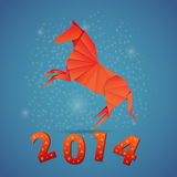 New year origami paper horse 2014. Celebration card Royalty Free Stock Photos