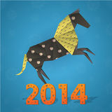 New year origami paper horse 2014. Celebration card Stock Image