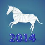 New year origami paper horse 2014. Celebration card Stock Photos