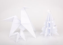 New year 2014 origami paper horse. Stock Photo