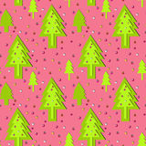 New year ornament. Seamless pink new year ornament with decorative green new year trees royalty free illustration