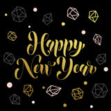 New Year ornament decoration background gold text. Vector greeting for Happy New Year of winter golden and silver crystal ornaments. Golden Christmas decoration stock illustration