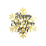 New Year ornament decoration background gold text. 2017 Vector greeting for Happy New Year of winter golden and silver crystal snowflakes ornaments. Golden Stock Images